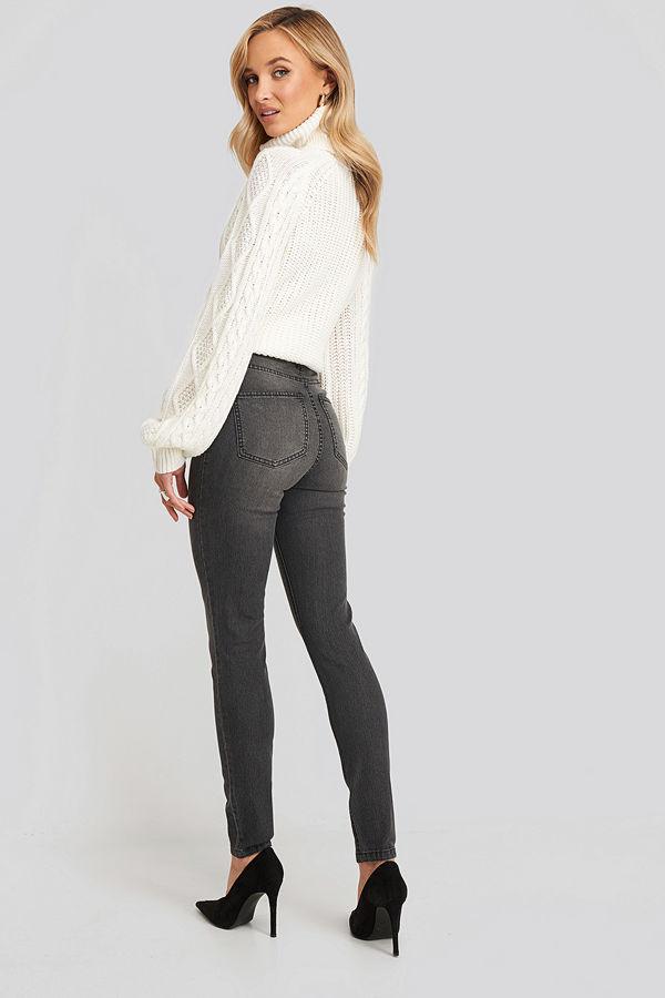 NA-KD Fake Pocket Skinny Jeans grå