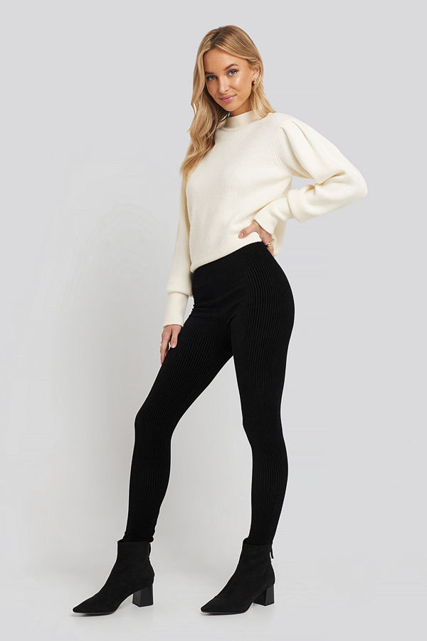 Trendyol Corduroy Knitted Tights svart