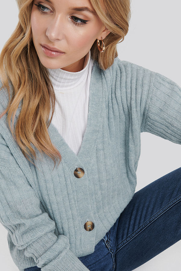NA-KD Button Up Ribbed Cropped Cardigan blå