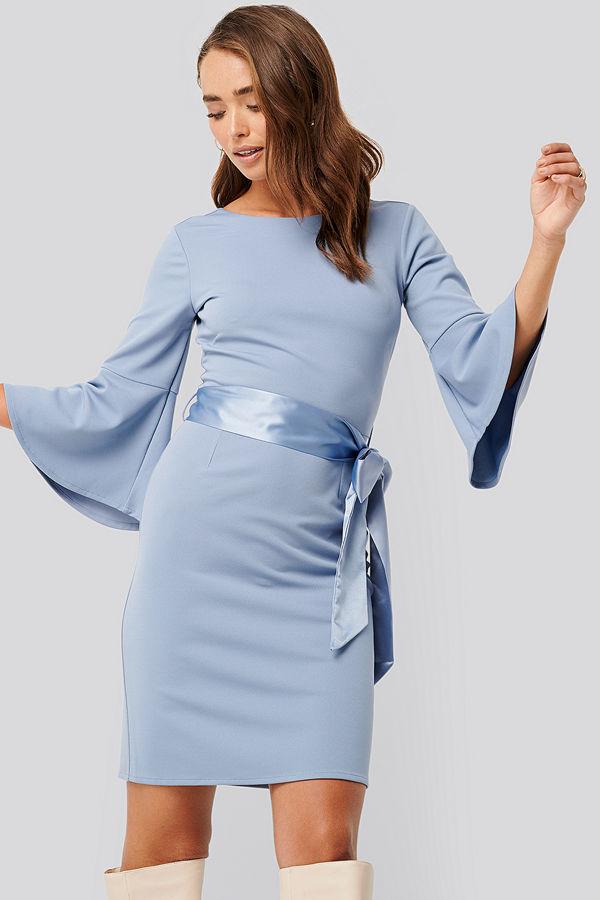 NA-KD Belted Flute Sleeve Bodycon Dress blå