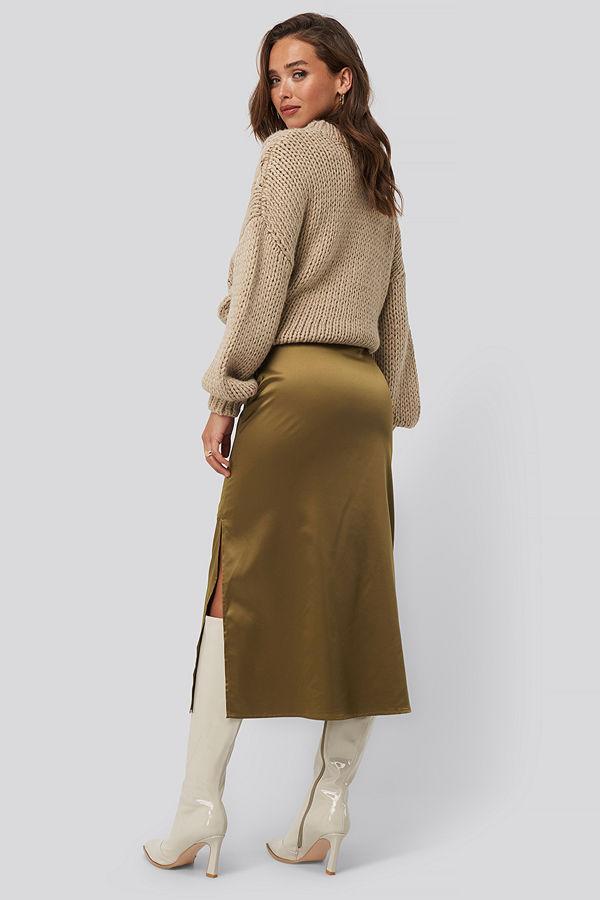 NA-KD Trend Split Seam Satin Midi Skirt brun