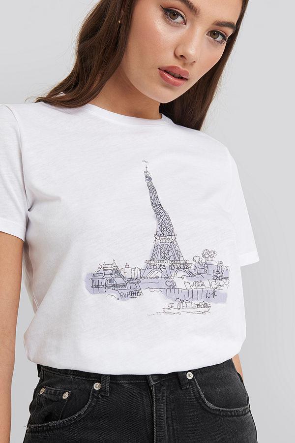 NA-KD Eiffel Tower Basic Tee vit