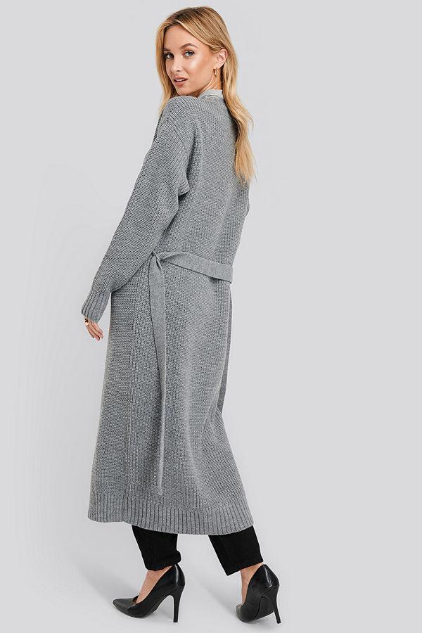NA-KD Belted Maxi Cardigan grå
