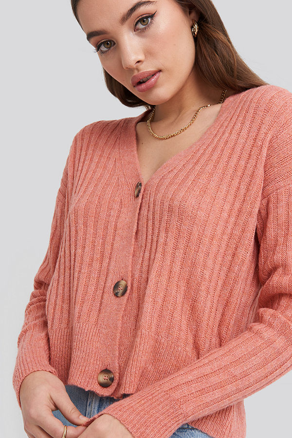 NA-KD Button Up Ribbed Cropped Cardigan rosa