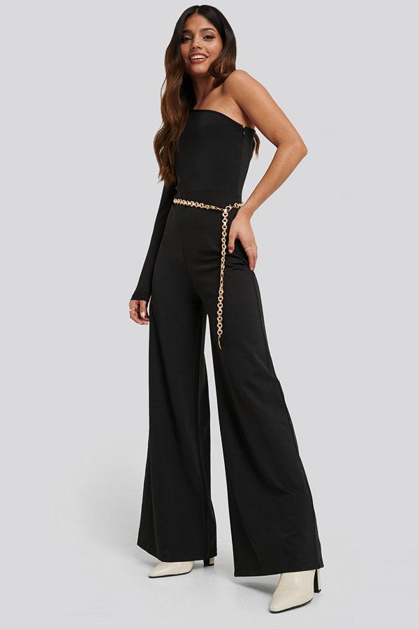 NA-KD Party Asymmetric Jersey Jumpsuit svart