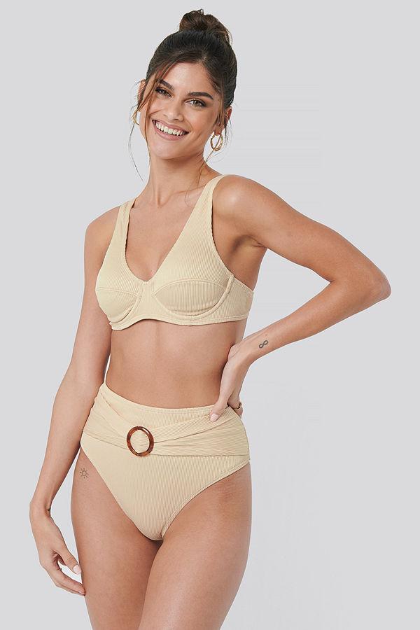 NA-KD Swimwear Ribbed High Waist Buckle Bikini Panty beige