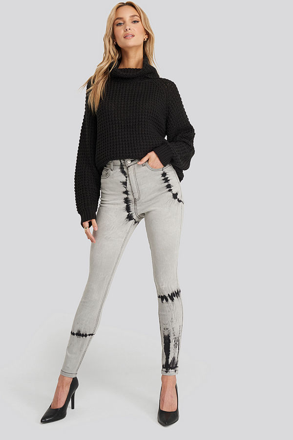 NA-KD Tie Dye Skinny Jeans grå