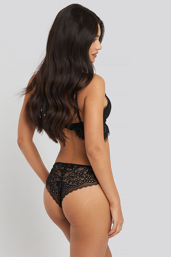 NA-KD Lingerie Cheeky Lace Back Micro Panty 2-pack svart