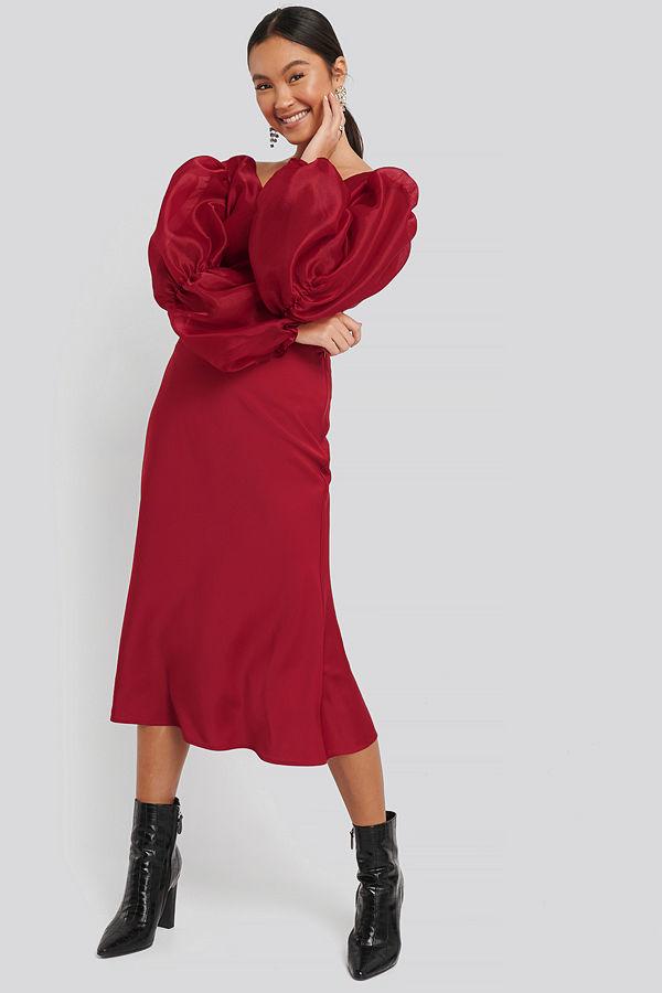 Satin Skirt röd