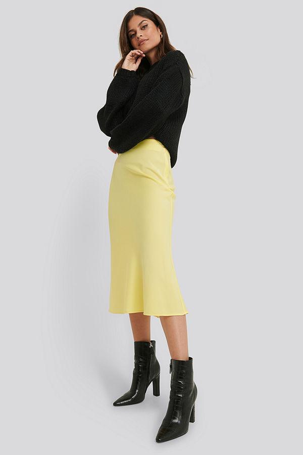 NA-KD Classic Satin Skirt gul