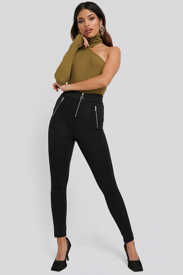 NA-KD Exposed Zipper Leggings svart