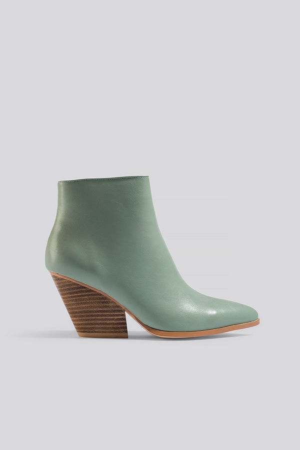 NA-KD Shoes Western Heel Pointy Boots grön