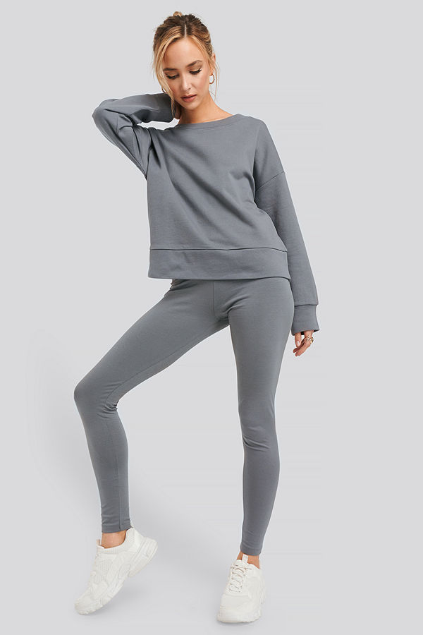 NA-KD Basic Basic Highwaist Leggings grå