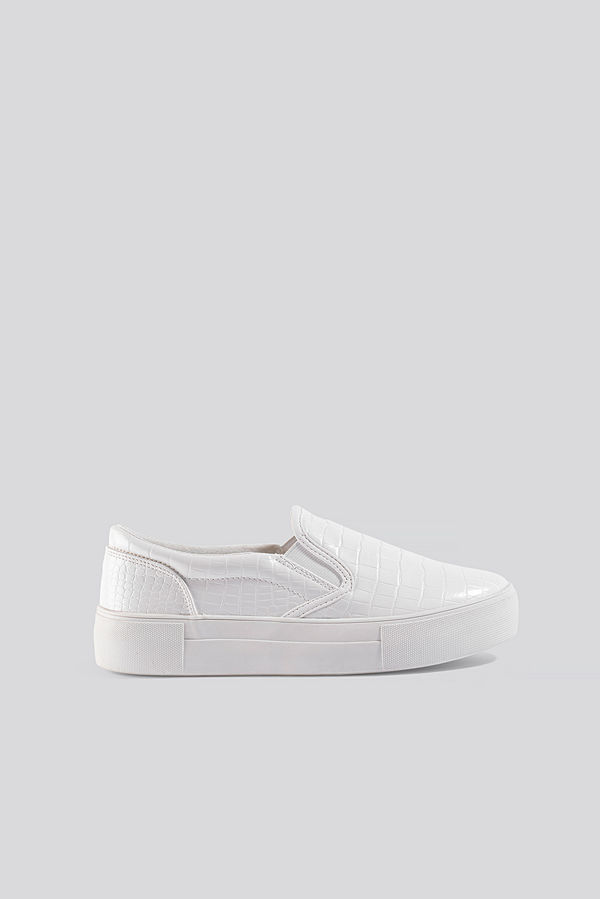 NA-KD Shoes Croc Slip In Trainers vit