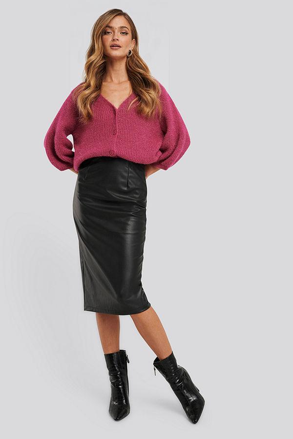 NA-KD Trend Faux Leather Midi Skirt svart