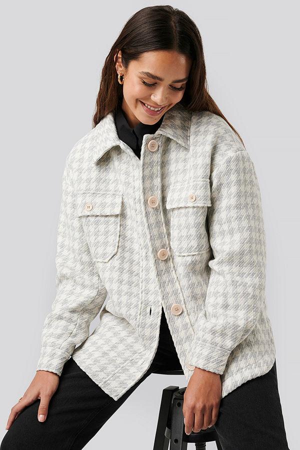 NA-KD Trend Wool Blend Dogtooth Jacket grå