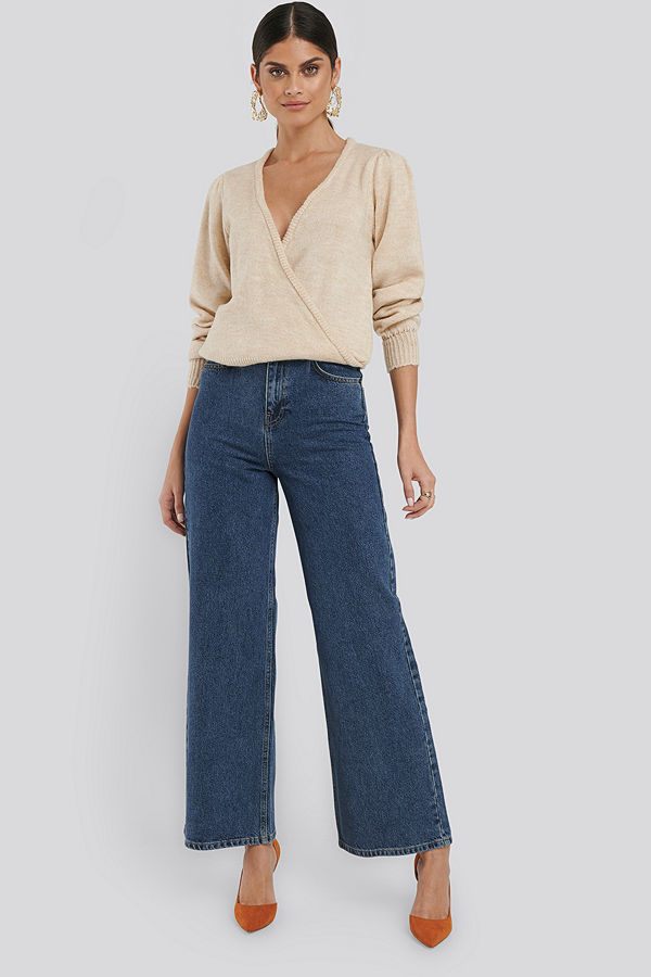 NA-KD Trend Wide Leg High Waisted Jeans blå