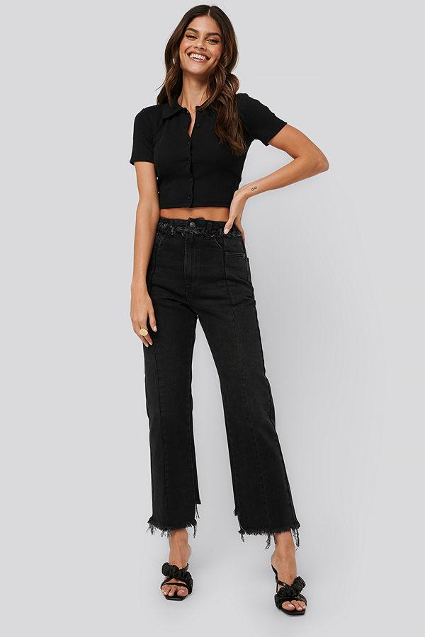 NA-KD Raw Edge Straight Jeans svart