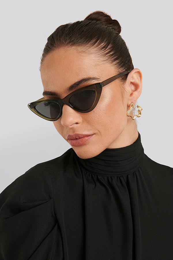 NA-KD Accessories Long Edge Cateye Sunglasses grön