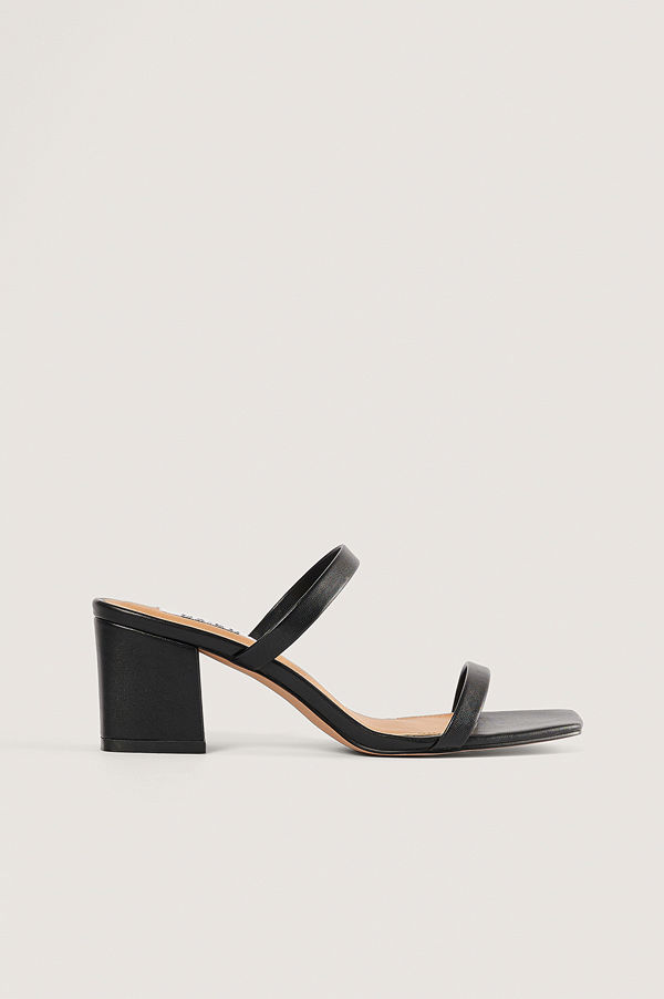 NA-KD Shoes Squared Two Strap Sandals svart