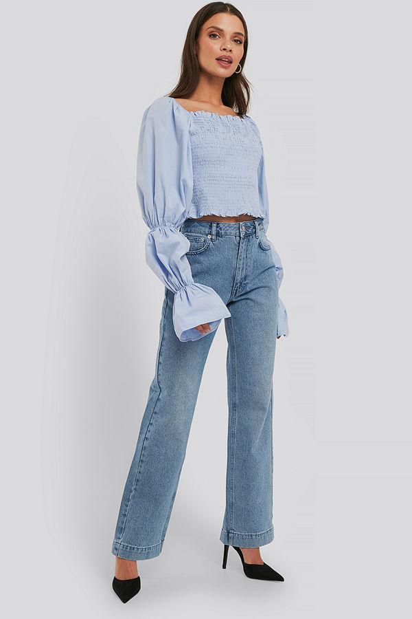 NA-KD Trend Mid Rise Straight Leg Jeans blå
