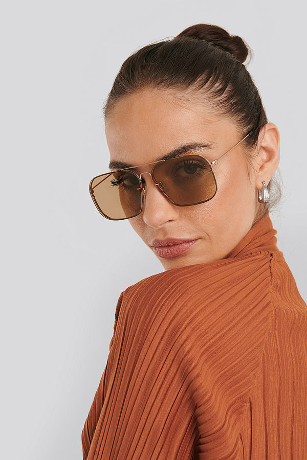 NA-KD Accessories Squared Wire Frame Sunglasses brun