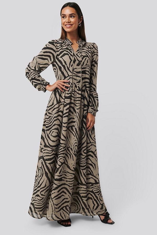 NA-KD Trend Maxi Frill Sheer Dress multicolor