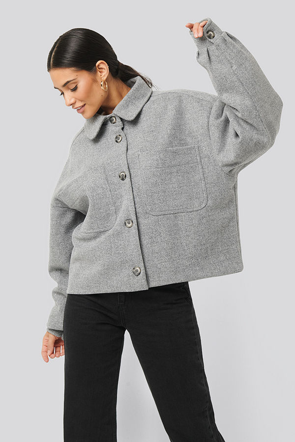 NA-KD Big Sleeve Oversized Jacket grå