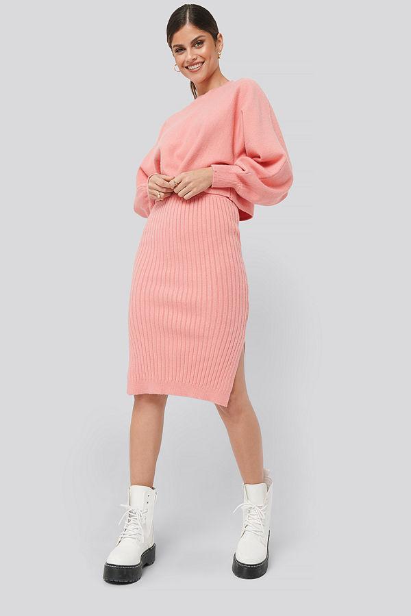 NA-KD Rib Knitted Skirt rosa