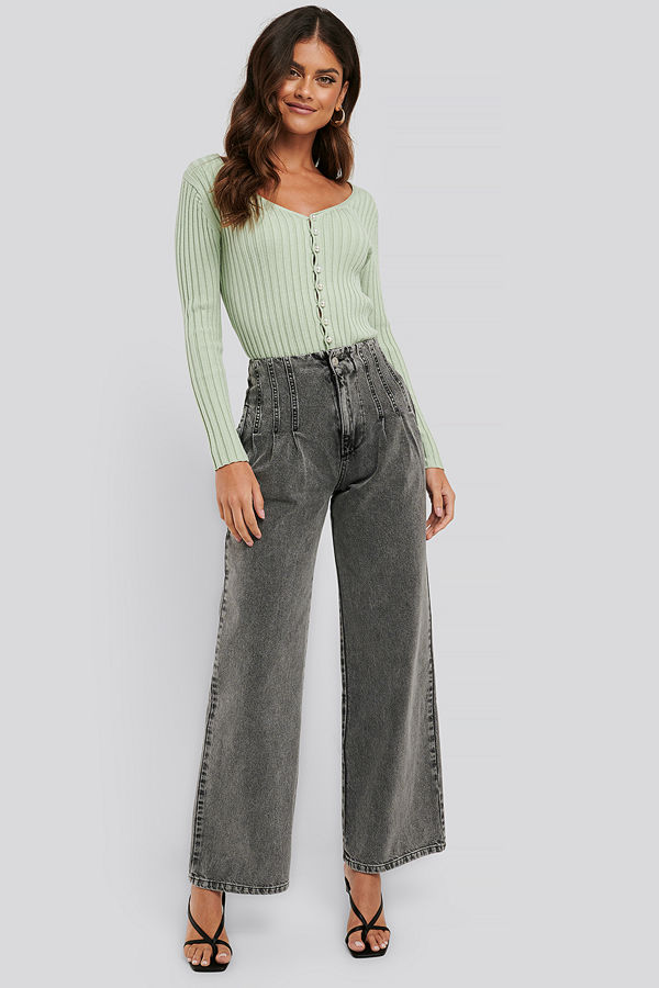 NA-KD High Waist Loose Fit Jeans grå