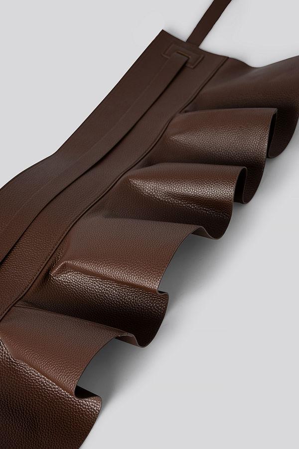 NA-KD Accessories Frill Detail Waist Belt brun