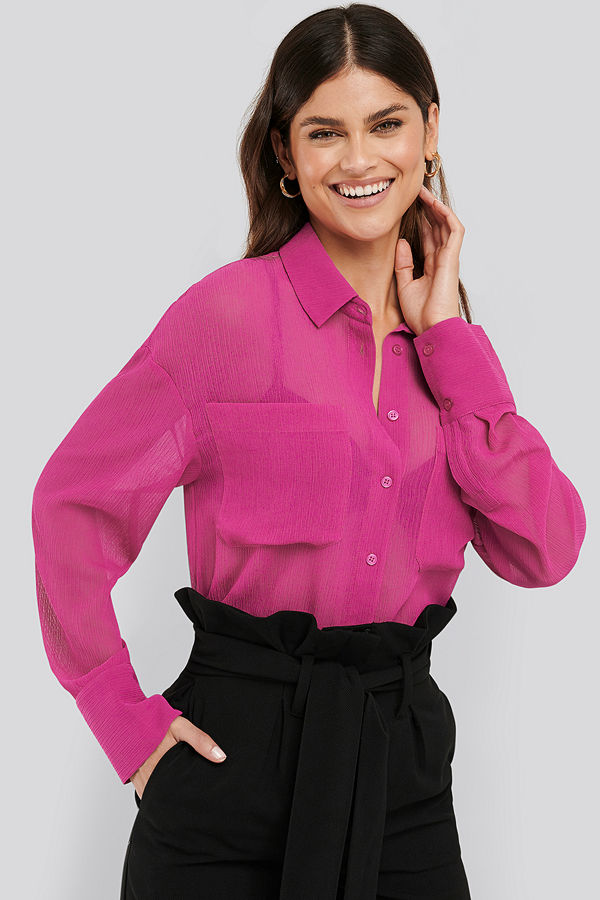 NA-KD Classic Oversized Structured Pocket Blouse rosa