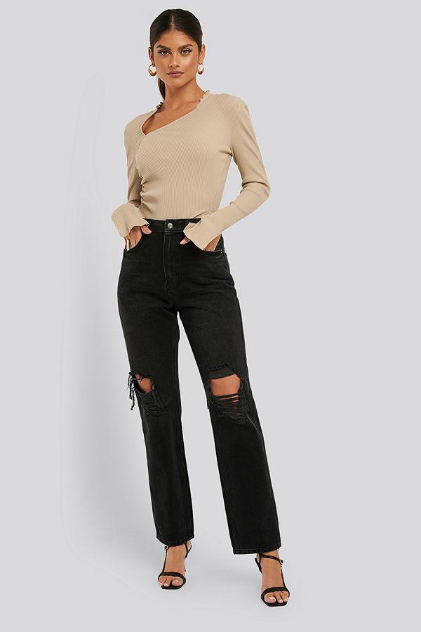 NA-KD Trend Distressed Straight Fit Jeans svart grå