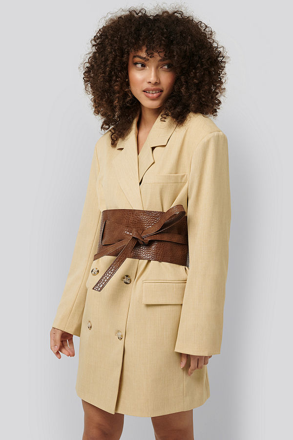 NA-KD Accessories Layered Oversize Waist Belt brun