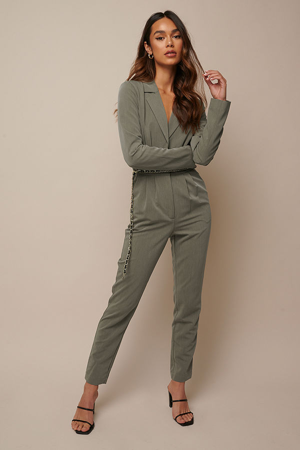 Donnaromina x NA-KD Long Sleeve Suit Jumpsuit grön