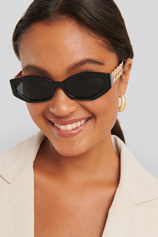 NA-KD Accessories Chain Temple Detailed Sunglasses svart