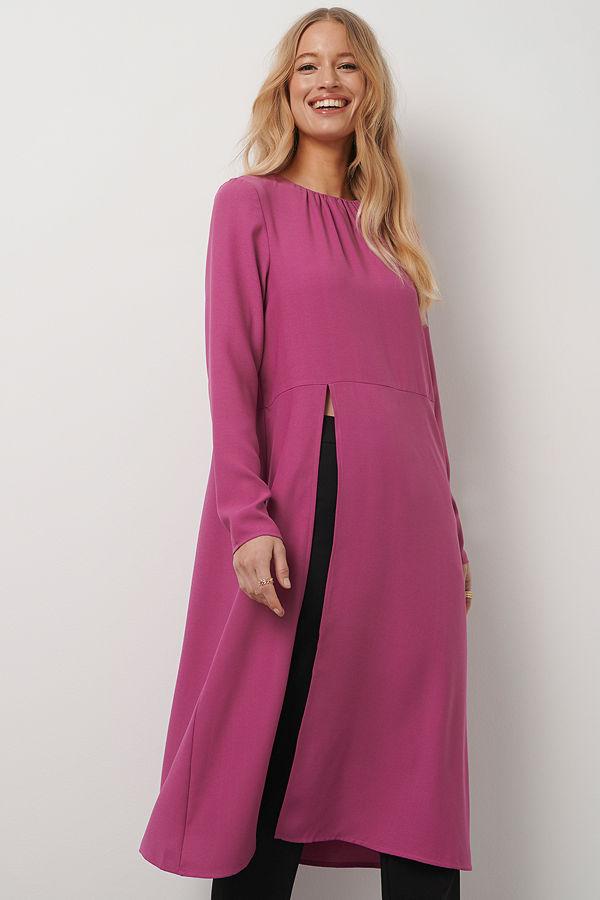 Kristin Rödin x NA-KD High Slit Midi Dress rosa