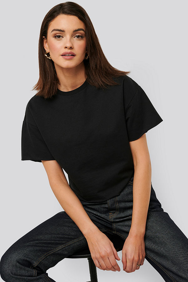 NA-KD Basic Sweatshirt Tee svart
