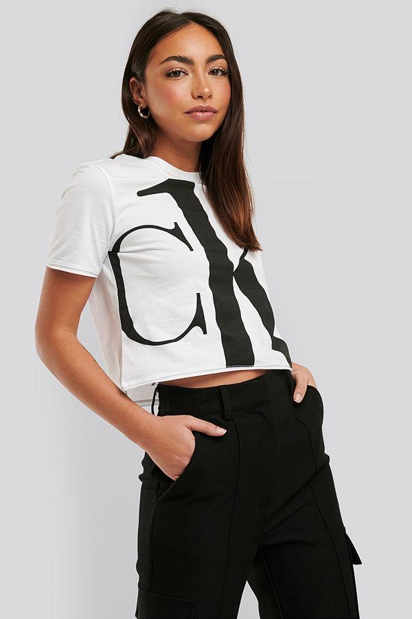 Calvin Klein Croppad T-Shirt vit