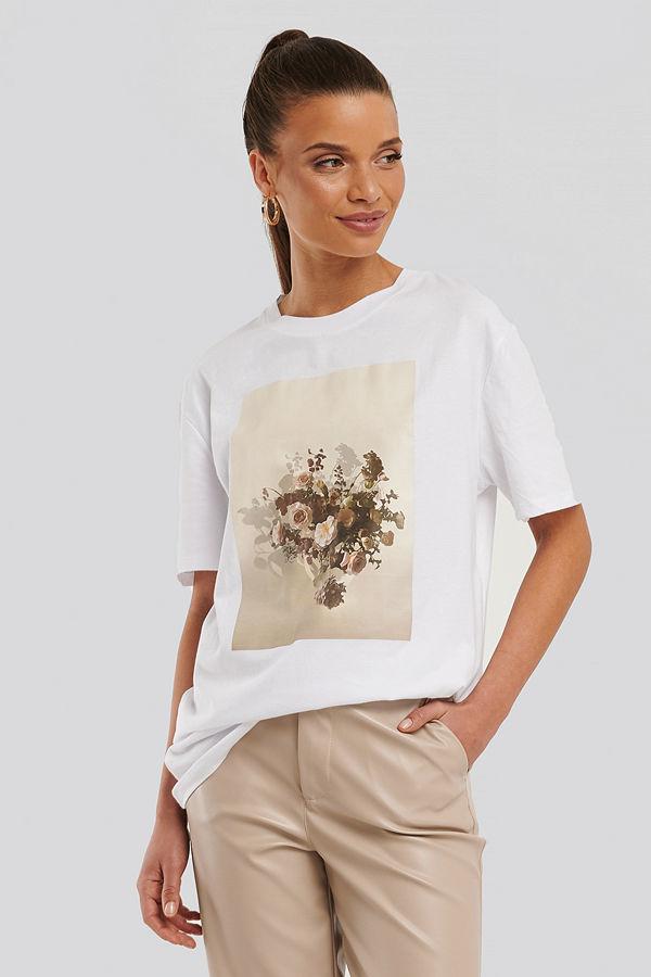 NA-KD Flower Printed Unisex Tee vit