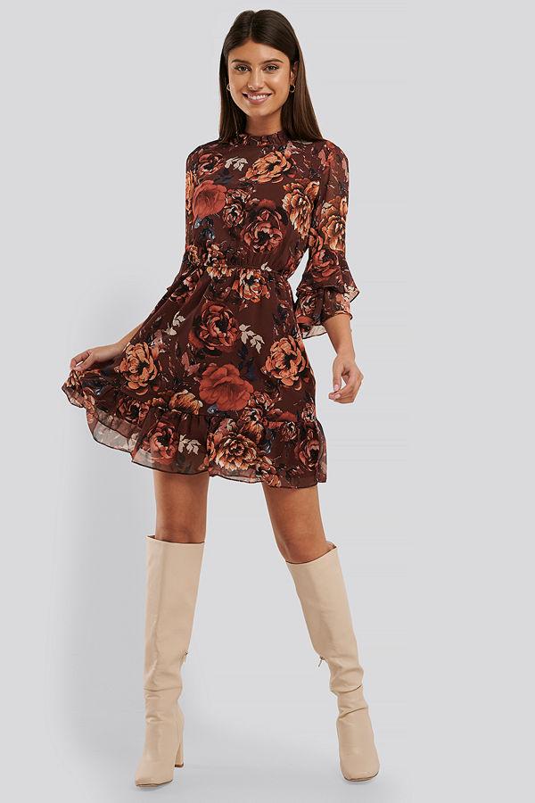Trendyol Mönstrad Miniklänning röd