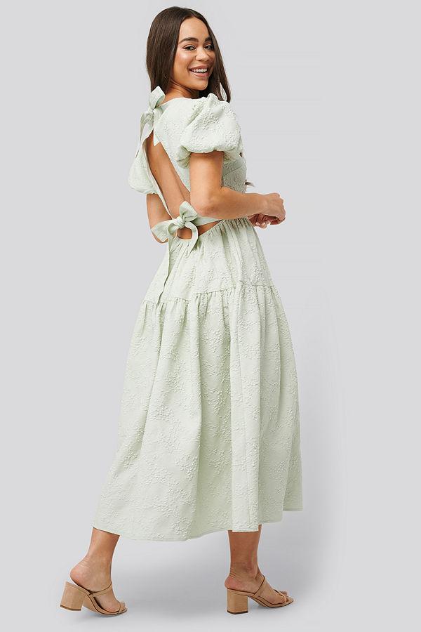 NA-KD Boho Tie Back Flower Structured Dress grön