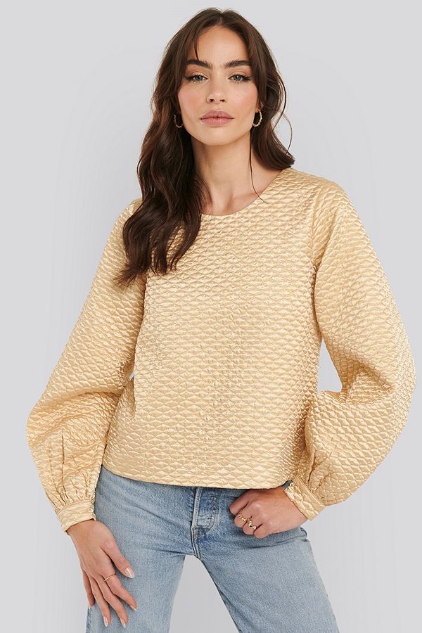 NA-KD Trend Quilted Balloon Sleeve Blouse beige
