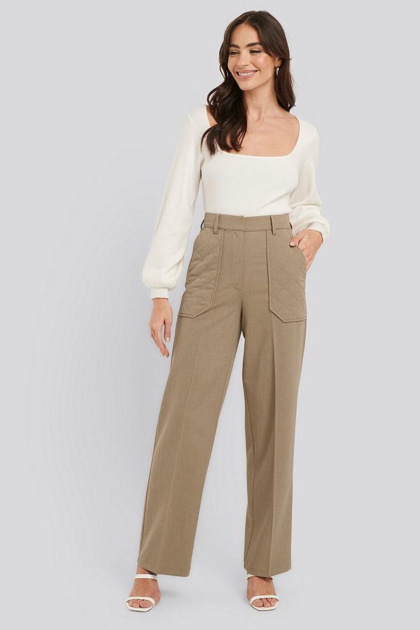 NA-KD Trend omönstrade byxor Quilted Pocket Suit Pants beige