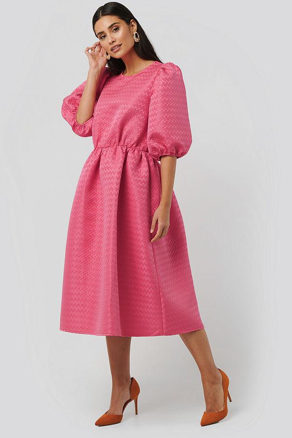 NA-KD Boho Structured Puff Dress rosa