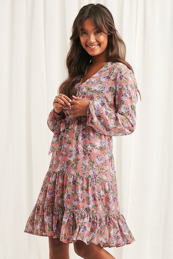 NA-KD Boho Self-Tie Printed Midi Dress multicolor