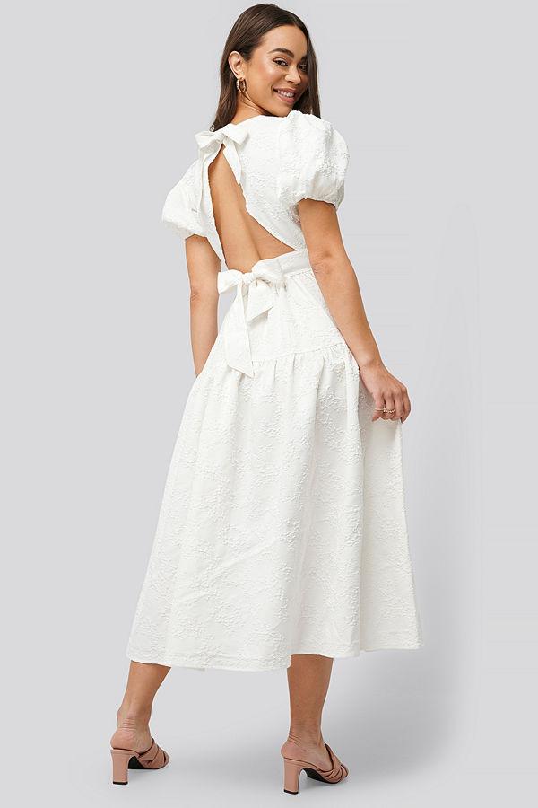 NA-KD Boho Tie Back Flower Structured Dress vit