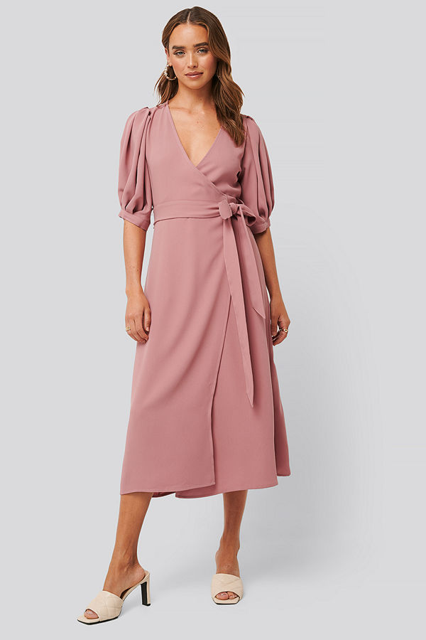 NA-KD Puff Sleeve Wrap Midi Dress rosa