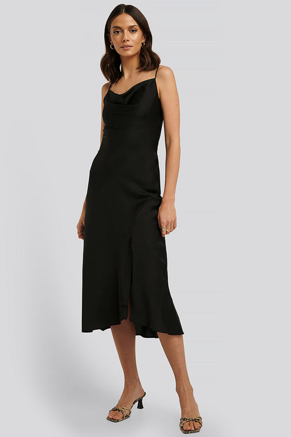 Trendyol Thin Strap Midi Dress svart