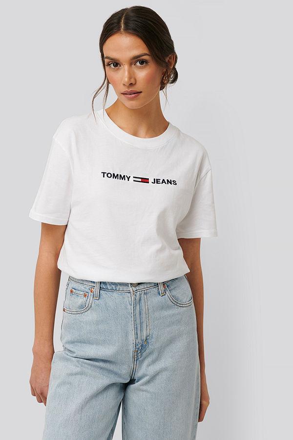 Tommy Jeans Modern Rak T-Shirt Med Logga vit
